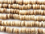 Light Natural Coconut Wood Rondelle Beads 8mm - Indonesia (WD965)