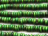 Green Coconut Wood Rondelle Beads 8mm - Indonesia (WD966)