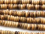 Dark Tan Coconut Wood Rondelle Beads 9mm - Indonesia (WD967)