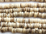 Light Ivory Coconut Wood Rondelle Beads 8mm - Indonesia (WD969)