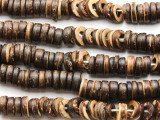 Dark Brown Coconut Wood Rondelle Beads 9mm - Indonesia (WD970)
