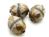 Afghan Tribal Bead - Silver & Brass Egg 28mm (AF653)
