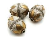Afghan Tribal Bead - Silver & Brass Egg 28mm (AF653)