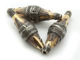 Afghan Tribal Bead - Silver & Brass Bicone 50mm (AF659)
