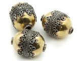 Afghan Tribal Bead - Silver & Brass Egg 28mm (AF662)