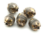 Afghan Tribal Bead - Silver & Brass Egg 21mm (AF664)