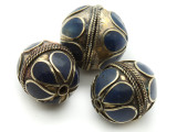 Afghan Tribal Bead - Brass & Dark Blue Round 22-26mm (AF666)