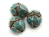Afghan Tribal Bead - Brass & Teal Egg 22-26mm (AF668)