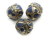 Afghan Tribal Bead - Brass & Dark Blue Egg 23-26mm (AF670)
