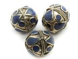 Afghan Tribal Bead - Brass & Dark Blue Egg 23-26mm (AF670)