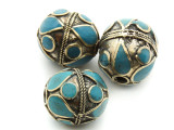 Afghan Tribal Bead - Brass & Teal Egg 23-26mm (AF671)