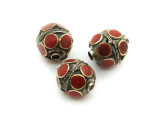 Afghan Tribal Bead - Brass & Red Round 16mm (AF672)