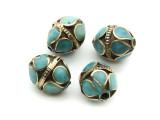 Afghan Tribal Bead - Brass & Turquoise Egg 18mm (AF676)