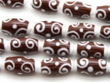 Brown & White Swirl Glass Beads 20mm (JV1196)