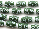 Green & White Swirls Glass Beads 20mm (JV1197)