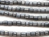 Gray w/White Stripes Glass Beads 5-6mm (JV1204)