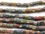 Multi-Colored Striped Glass Beads 3-5mm (JV1206)