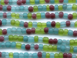 "Blue, Green & Purple Glass Beads 4-6mm - 44"" Strand (JV9077)"