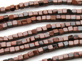 Red Obsidian Cube Gemstone Beads 4mm (GS4539)