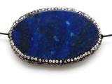 Lapis Lazuli Lg Focal Bead w/Rhinestones 56mm (GSP2075)