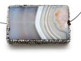 Gray Agate Lg Focal Bead w/Rhinestones 61mm (GSP2091)