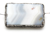 Gray Agate Lg Focal Bead w/Rhinestones 62mm (GSP2092)