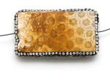 Coral Agate Lg Focal Bead w/Rhinestones  54mm (GSP2097)