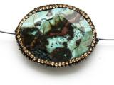 Blue Mushroom Rhyolite Lg Focal Bead w/Rhinestones 39mm (GSP2100)