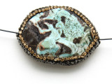 Blue Mushroom Rhyolite Lg Focal Bead w/Rhinestones 39mm (GSP2101)