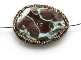 Blue Mushroom Rhyolite Lg Focal Bead w/Rhinestones 36mm (GSP2102)