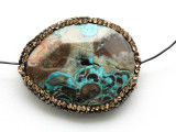 Blue Mushroom Rhyolite Lg Focal Bead w/Rhinestones 36mm (GSP2103)