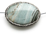 Green Jasper Lg Focal Bead w/Rhinestones 40mm (GSP2108)