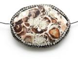 Mushroom Rhyolite Lg Focal Bead w/Rhinestones 45mm (GSP2111)