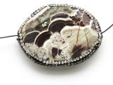 Mushroom Rhyolite Lg Focal Bead w/Rhinestones 44mm (GSP2112)
