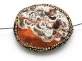 Mushroom Rhyolite Lg Focal Bead w/Rhinestones 43mm (GSP2114)