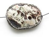 Mushroom Rhyolite Lg Focal Bead w/Rhinestones 44mm (GSP2115)