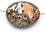 Mushroom Rhyolite Lg Focal Bead w/Rhinestones 44mm (GSP2117)
