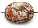 Mushroom Rhyolite Lg Focal Bead w/Rhinestones 44mm (GSP2118)