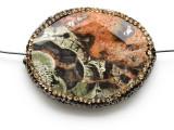 Mushroom Rhyolite Lg Focal Bead w/Rhinestones 45mm (GSP2119)