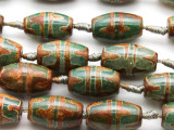 Green & Brown Tibetan Agate Barrel Gemstone Beads 23mm (GS4572)