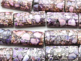 Purple Mosaic Magnesite Rectangle Gemstone Beads 30mm (GS4573)