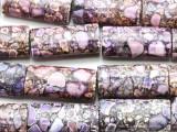 Purple Mosaic Magnesite Rectangle Gemstone Beads 30mm (GS4573)