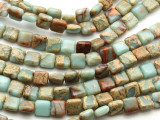 Aqua Terra Jasper Square Gemstone Beads 8mm (GS4579)