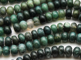 Moss Agate Rondelle Gemstone Beads 15mm (GS4586)