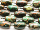 Green & Brown Tibetan Agate Barrel Gemstone Beads 23mm (GS4595)