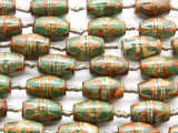 Tan & Green Tibetan Agate Barrel Gemstone Beads 23mm (GS4606)