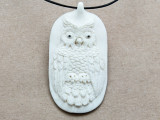 Seated Owl Water Buffalo Horn Pendant 59mm (AP2021)