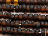 Brown Rondelle Recycled Glass Beads 11mm - Indonesia (RG627)