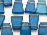 Blue Tabular Recycled Glass Beads 15-21mm - Indonesia (RG632)