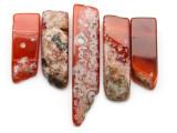 Carnelian Graduated Stick Gemstone Beads - Set of 5 (GS4696)
